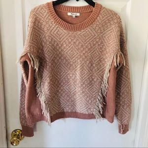 Madewell beige fringe wool sweater size small
